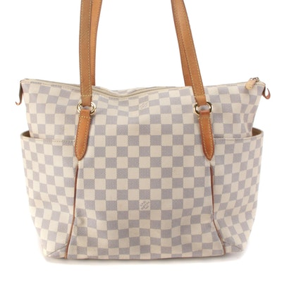 Louis Vuitton Totally GM Tote in Damier Azur Canvas and Vachetta Leather