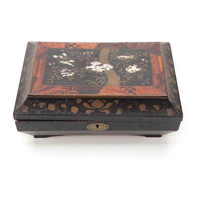Hand-Painted and Lacquered Sewing Box with Rosewood and MOP Inlay