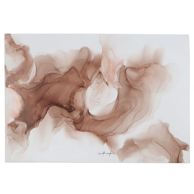 "Inga Kovalenko Abstract Ink Painting ""Number #3,"" 2021"