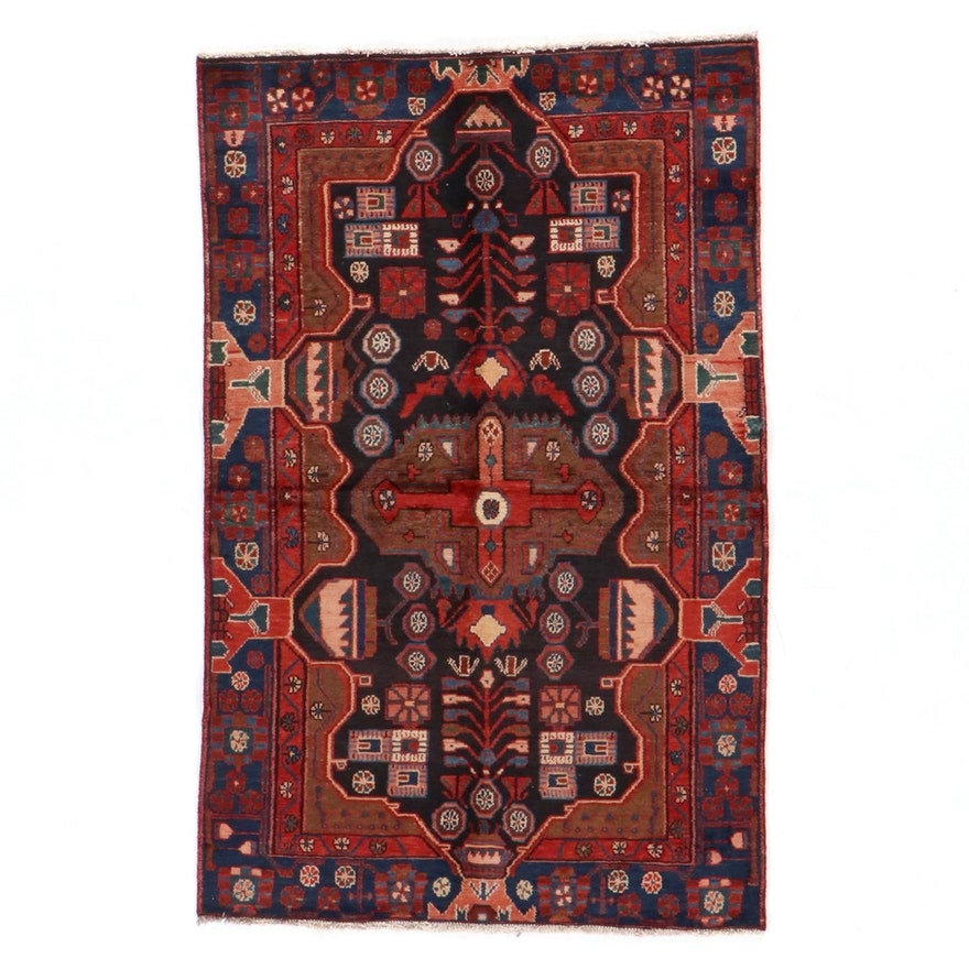 4'1 x 6'6 Hand-Knotted Persian Nahavand Area Rug