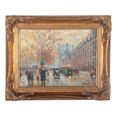 European Winter Street Scene Oil Painting