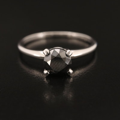 14K 1.21 CT Black Diamond Solitaire Ring