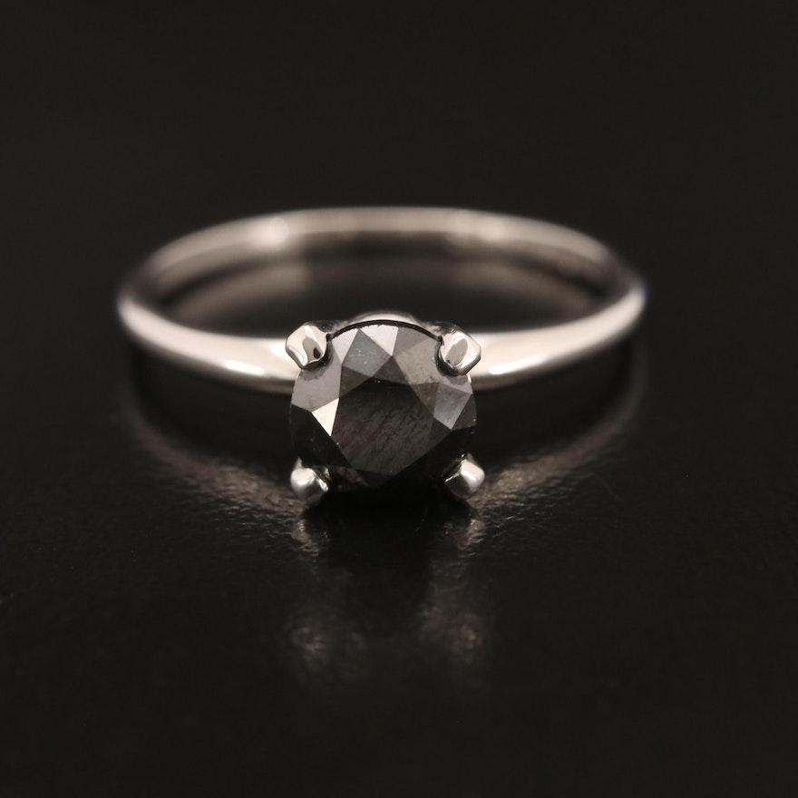 14K 1.21 CT Black Diamond Solitaire Ring