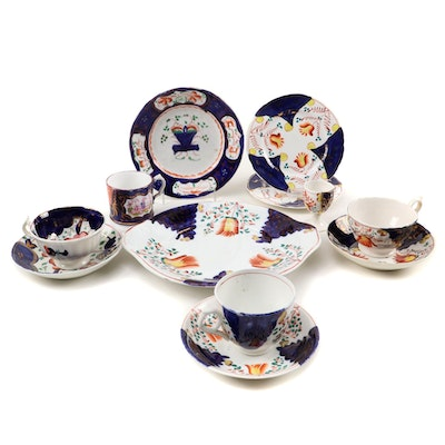 English Gaudy Welsh Ceramic Cann and Other Tableware, Early to Mid 19th Century