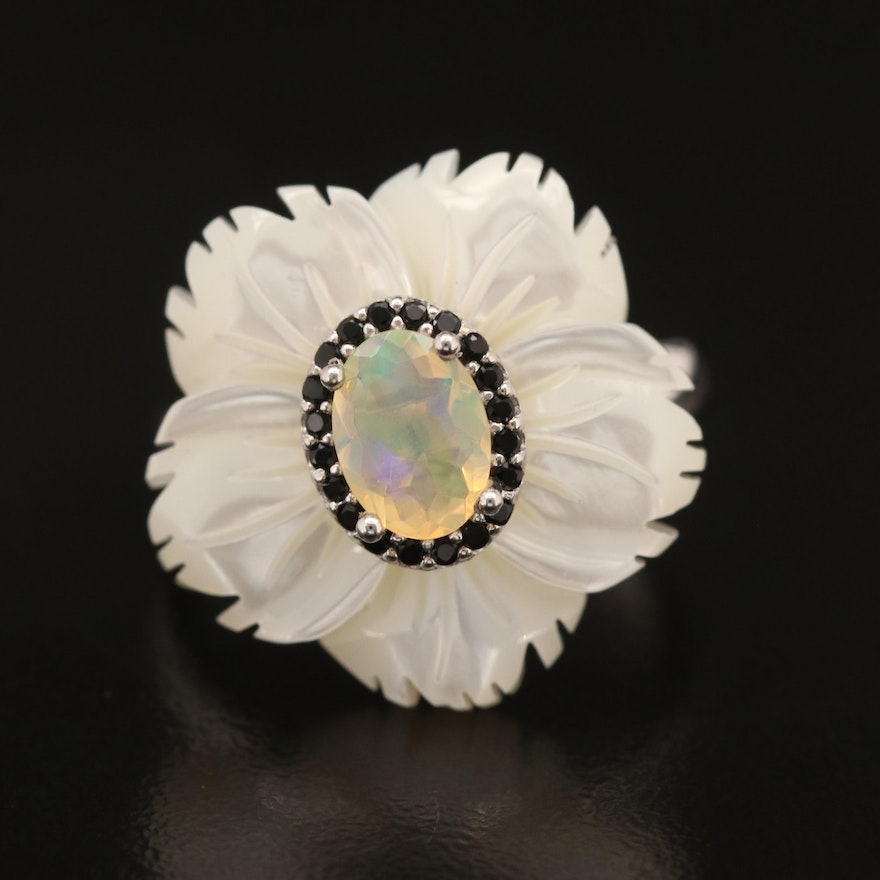 Sterling Opal, Cubic Zirconia and Carved Mother of Pearl Flower Ring