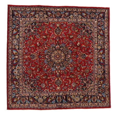 9'7 x 9'9 Hand-Knotted Persian Mashhad Area Rug