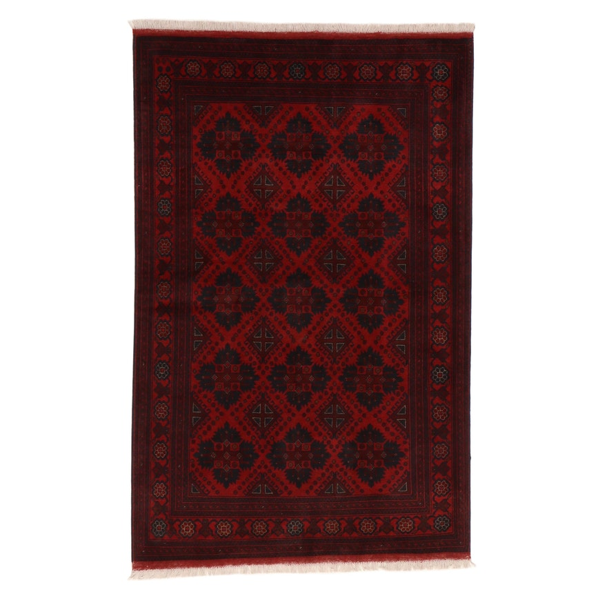 4'3 x 7' Hand-Knotted Afghan Turkmen Area Rug