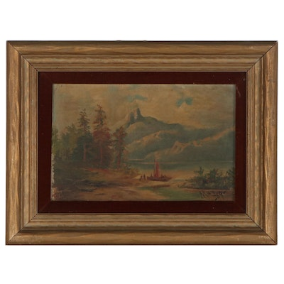 Mountain Landscape Oil Painting, 1889