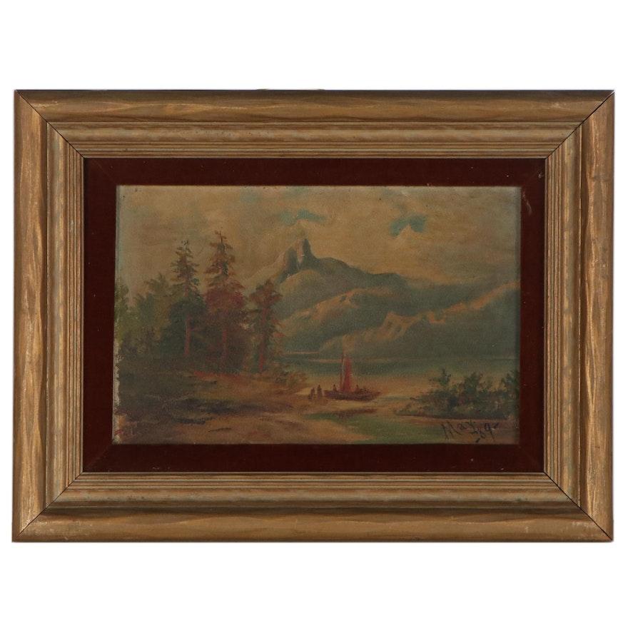 Mountain Landscape Oil Painting, 1889