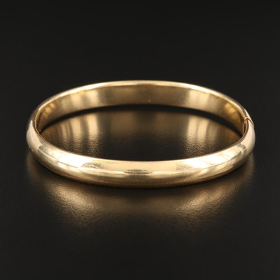 14K Smooth Hinged Bangle