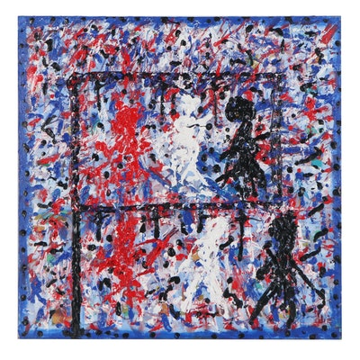 "Irwin Wiener Abstract Acrylic Painting ""Revolution"""