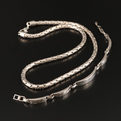 La Mode Sterling Bar Bracelet and Fancy Link Necklace