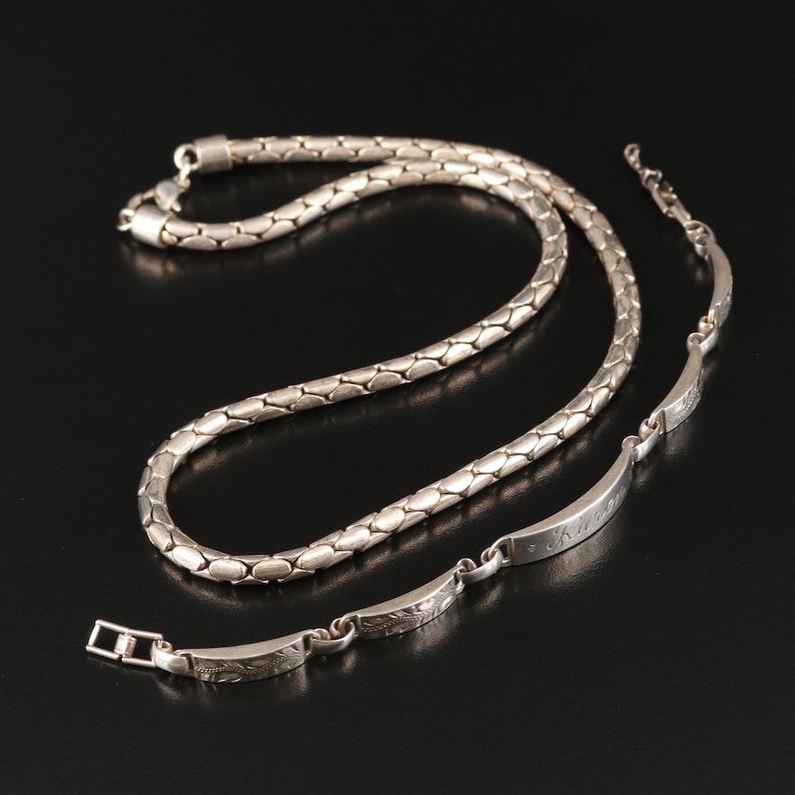 La Mode Sterling Bar Bracelet and Fancy Link Necklace