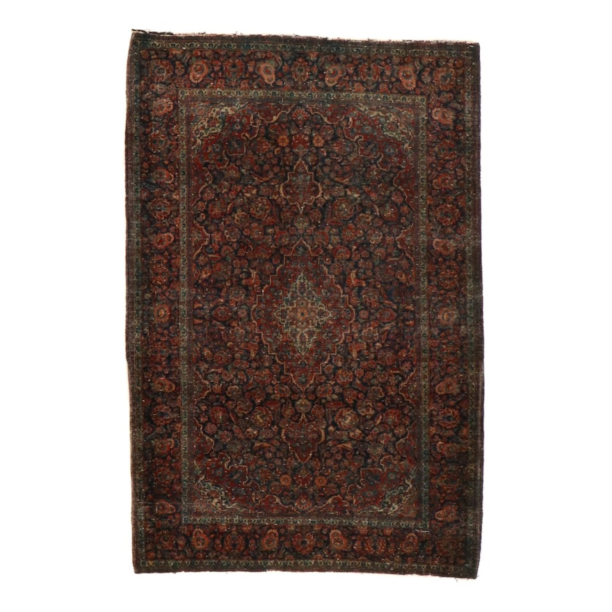 4'5 x 6'8 Hand-Knotted Persian Kashan Rug, 1920s