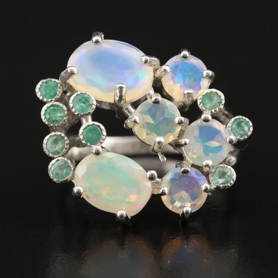 Sterling Opal Ring with Biomorphic Accents