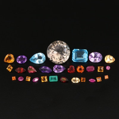 Loose 42.53 CTW Gemstones Featuring Ruby, Citrine and Amethyst