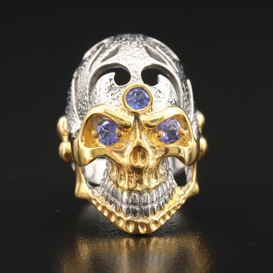 Sterling Tanzanite Skull Ring with Cut Out Accents