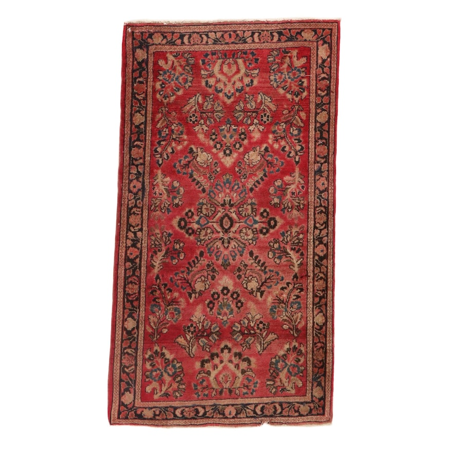 2'3 x 4'1 Hand-Knotted Persian Sarouk Rug, 1930s