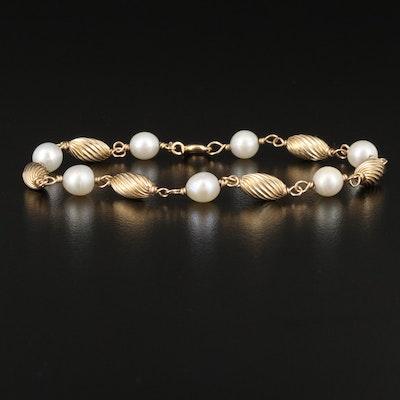 14K Pearl Link Bracelet