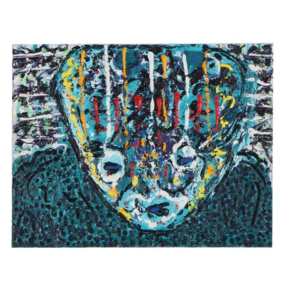 Irwin Wiener Impasto Acrylic Painting of Abstract Figure