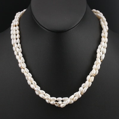 14K Pearl Torsade Necklace