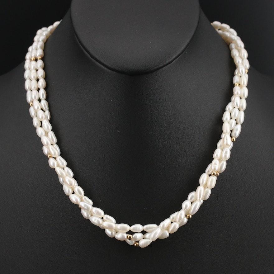 14K Pearl Torsade Necklace
