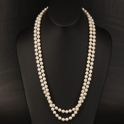 Pearl Double Strand Necklace with 14K Clasp