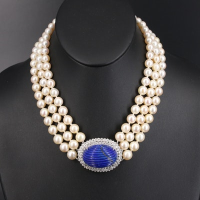 David Webb Lapis Lazuli and 3.51 CTW Diamond Pendant on Triple Strand Necklace