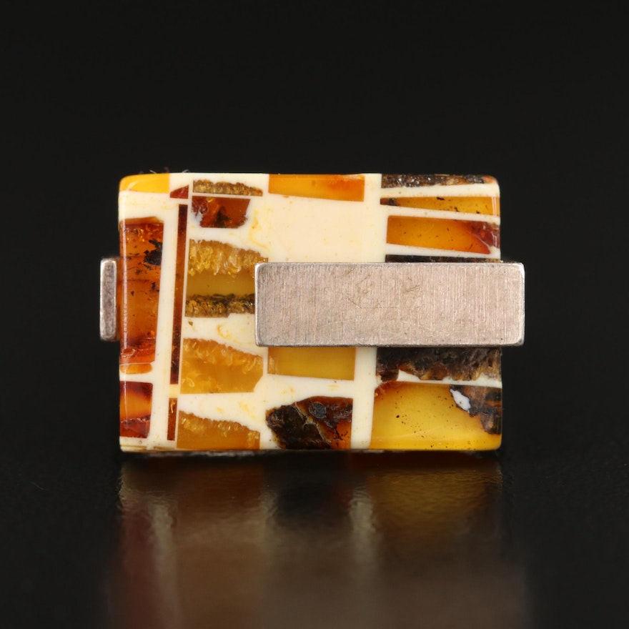 Contemporary Sterling Geometric Amber Mosaic Inlay Ring