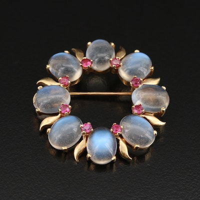 Vintage 14K Ruby and Moonstone Wreath Brooch