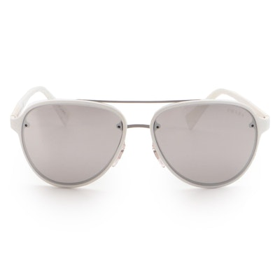 Prada Sport SPS 52S Mirrored White Pilot Sunglasses
