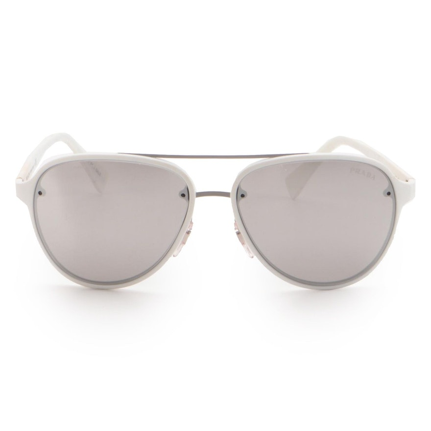 Prada Sport SPS 52S Mirrored White Pilot Sunglasses
