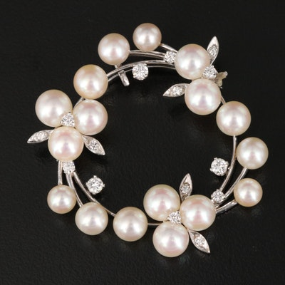 14K Pearl and Diamond Wreath Converter Brooch