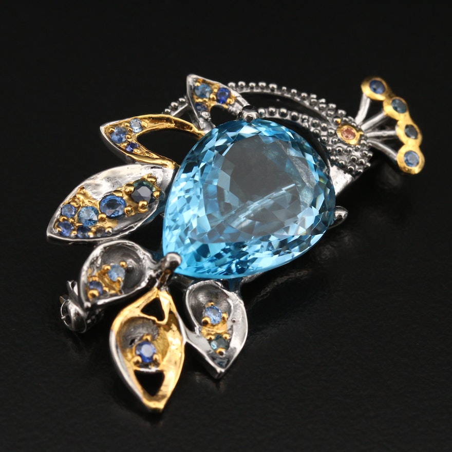 Sterling Swiss Blue Topaz and Sapphire Peacock Brooch