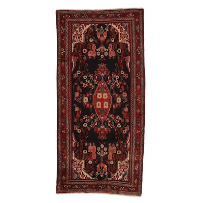 4'11 x 10'6 Hand-Knotted Persian Zanjan Rug, 1960s