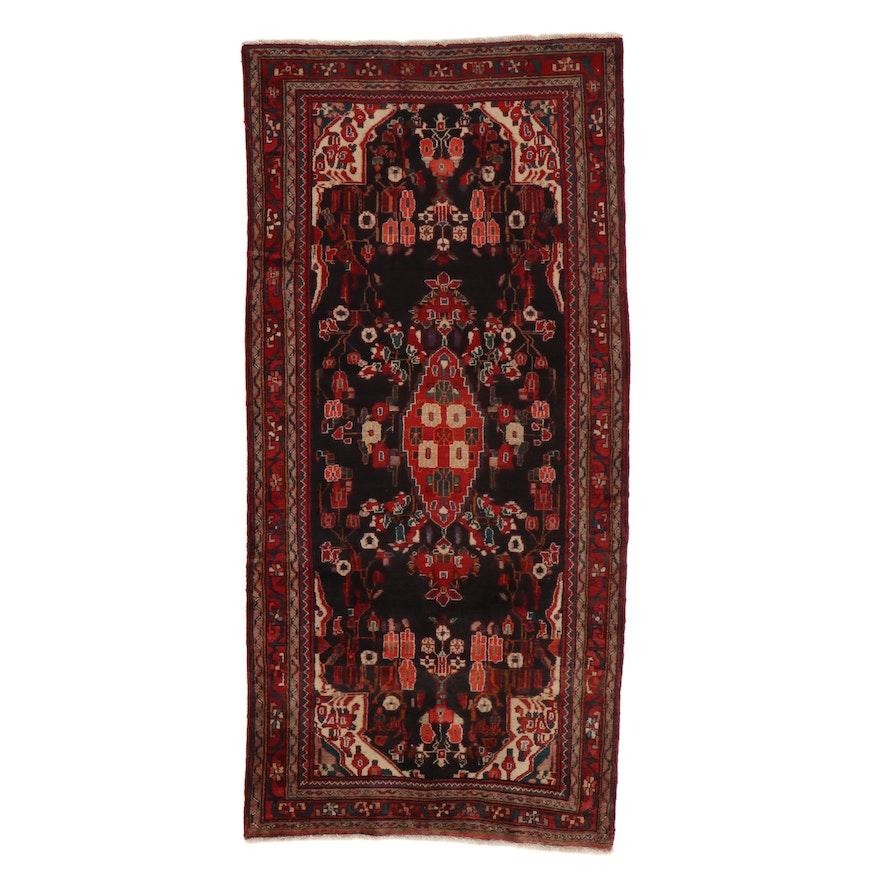 4'11 x 10'6 Hand-Knotted Persian Zanjan Rug, 1960s