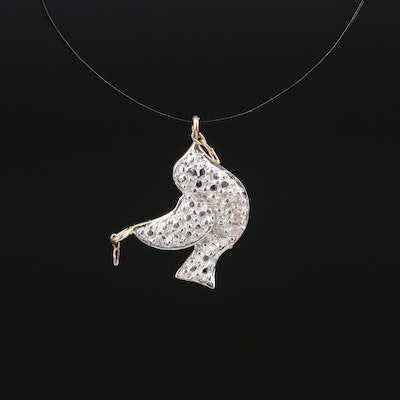 10K Diamond Dove Pendant