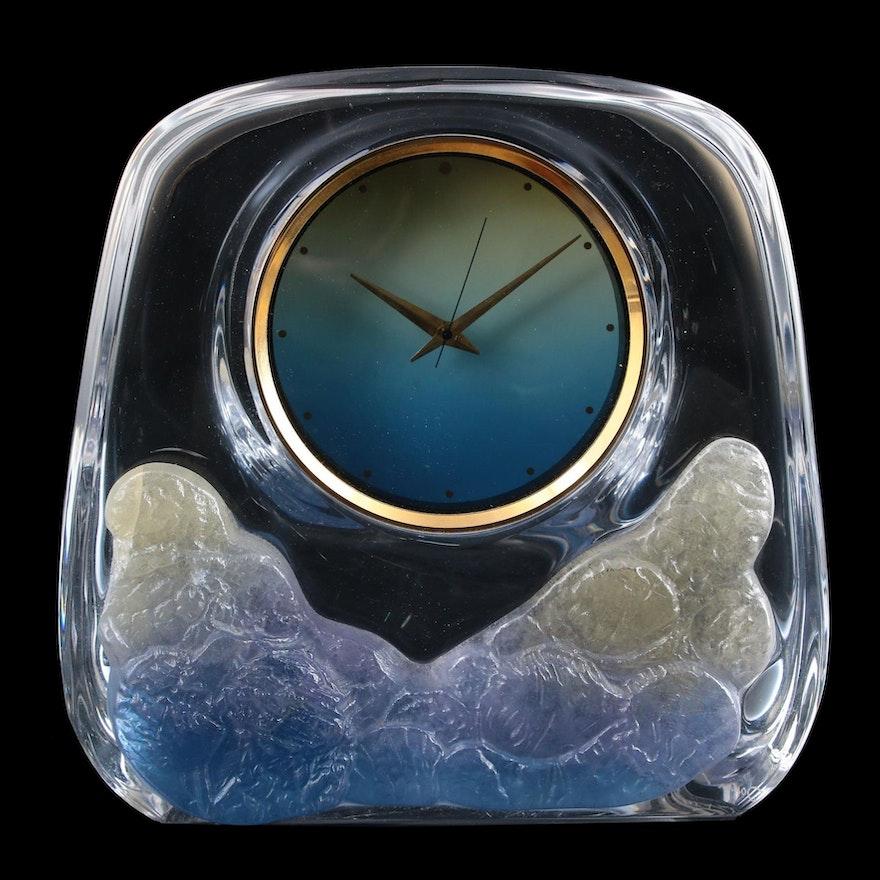 Daum Pâte de Verre Glass Desk Clock, Late 20th Century