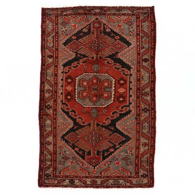 4'4 x 6'9 Hand-Knotted Persian Hamadan Kurdish Area Rug