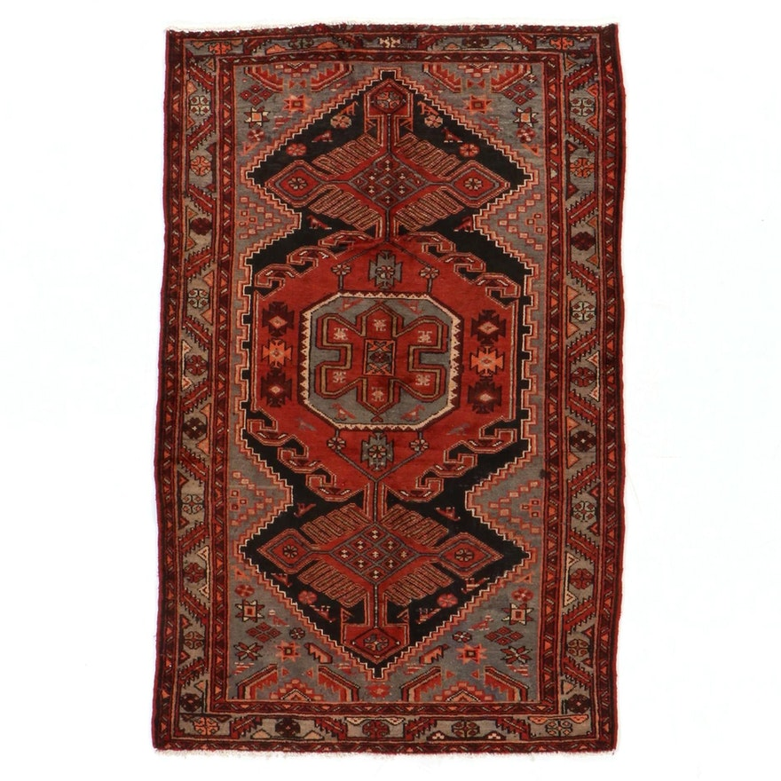 4'4 x 6'9 Hand-Knotted Persian Hamadan Kurdish Area Rug