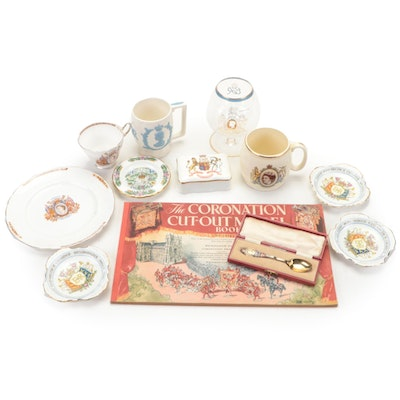 Coronation of Queen Elizabeth II Memorabilia Including Plates, Mugs, and Spoon