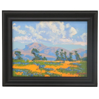 "Marc Graison Abstract Landscape Oil Painting ""Fertile Field,"" 2021"