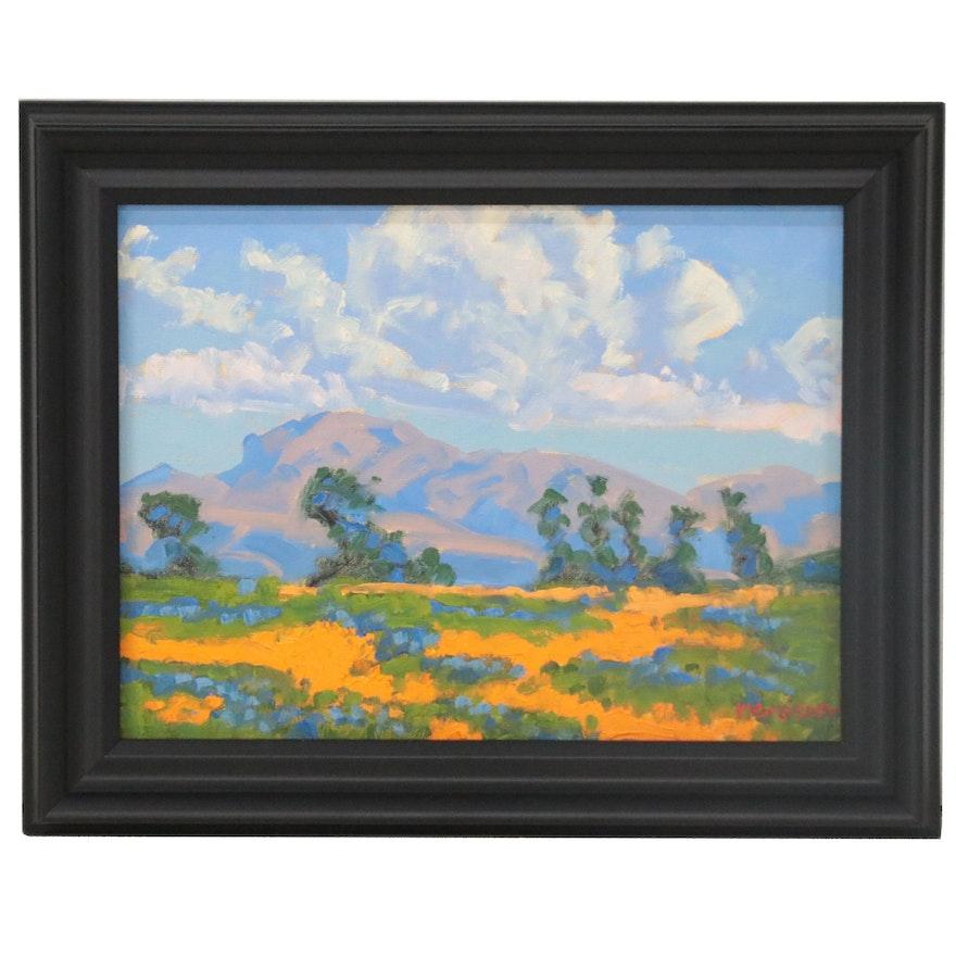 """Marc Graison Abstract Landscape Oil Painting """"Fertile Field,"""" 2021"""
