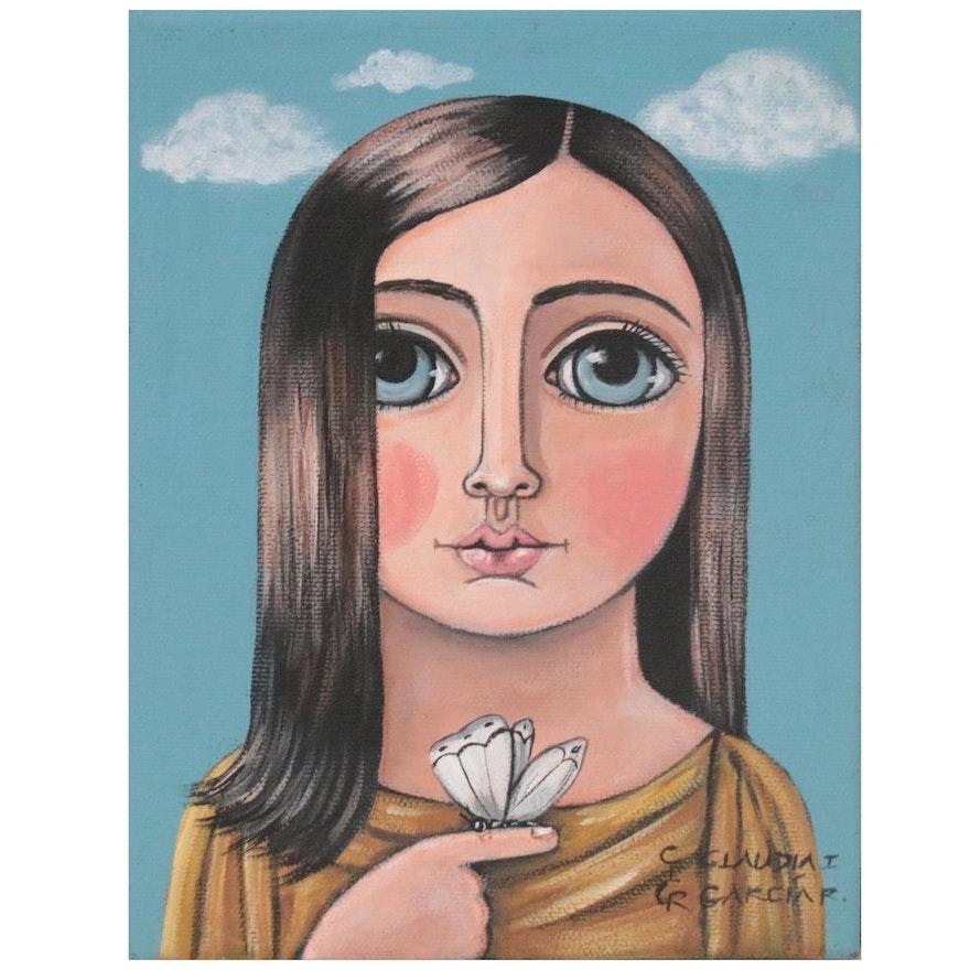 Claudia García Folk Art Acrylic Painting of Girl with Butterfly, 21st Century