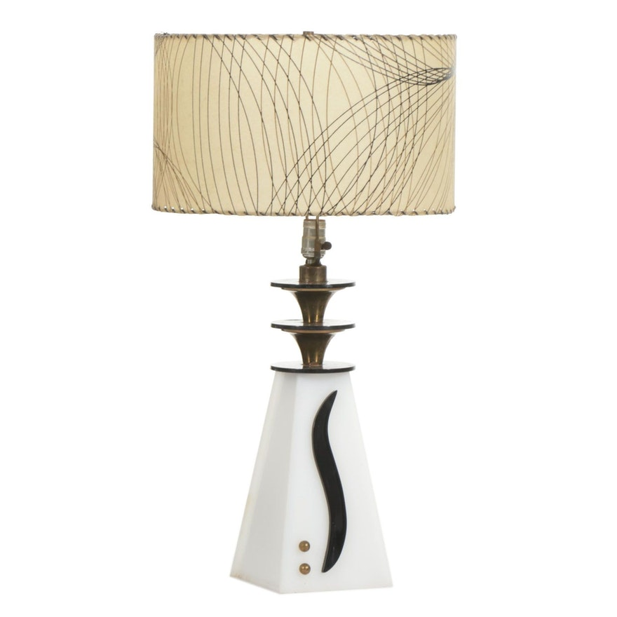 Moss Lighting Co. Black and White Early Modernist Style Lucite Table Lamp, 1950s