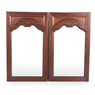Pair of  Carolina Mirror Corp. French Provincial Style Walnut Mirrors