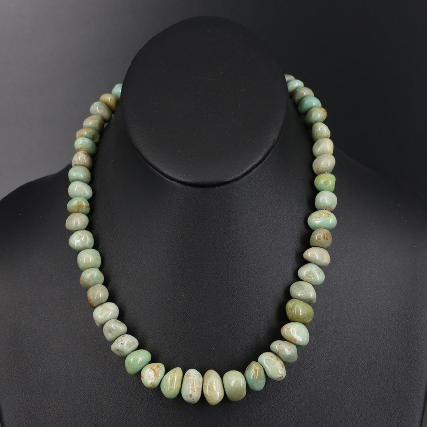 Graduated Turquoise Necklace with Sterling Clasp
