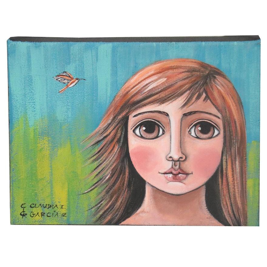 Claudia García Figural Acrylic Painting of Girl with Hummingbird