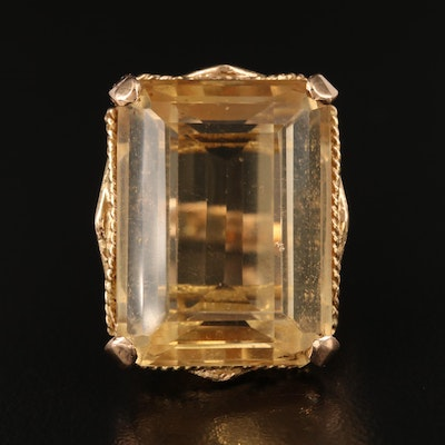 Vintage 14K 22.86 CT Citrine Openwork Ring