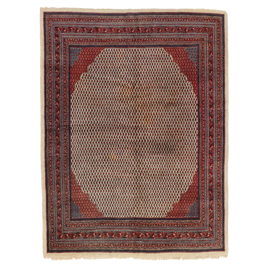 8'11 x 12' Hand-Knotted Indo-Persian Mir Room Sized Rug